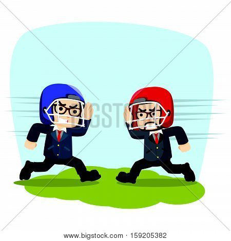 two businessmen were compete strength illustration design