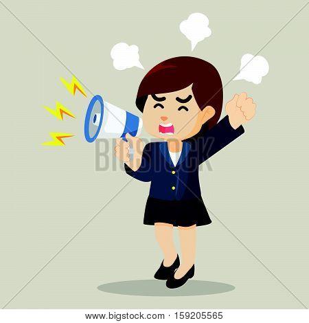 businesswoman yelling with megaphone eps10 vector illustration design