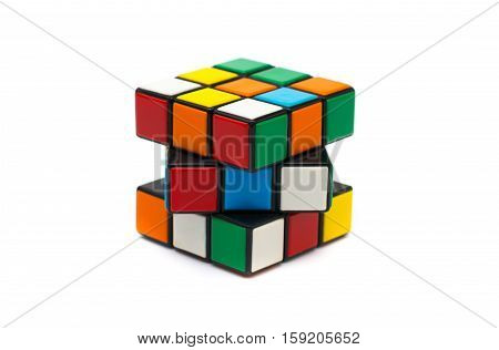 Estonia, Tallinn, Novemberr 30, 2016. Rubik's cube on the white background. Selective focus