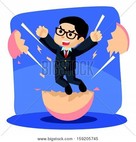 businessman happy because hatching from egg illustration design