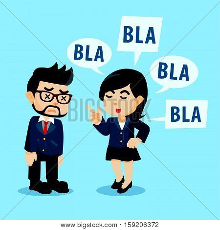 businessman lecture by her girlfriend illustration design