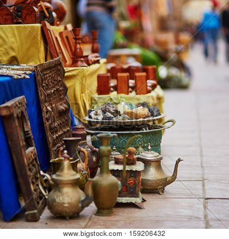 Teapots On Moroccan Market In Essaouira, Morocco