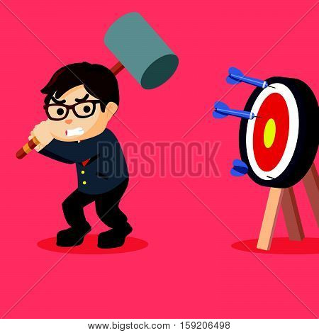 Business man smash the target illustration design