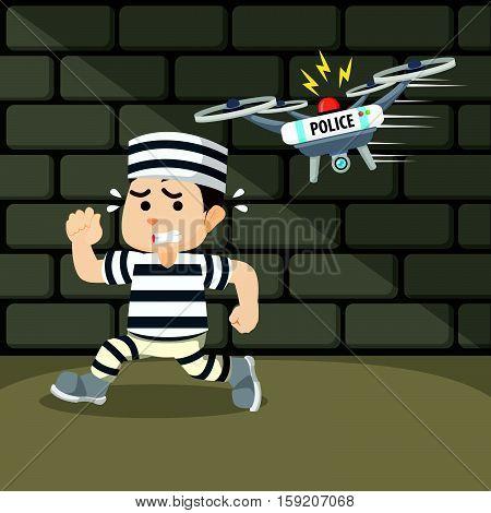 drone capture the escaped convict illustration design