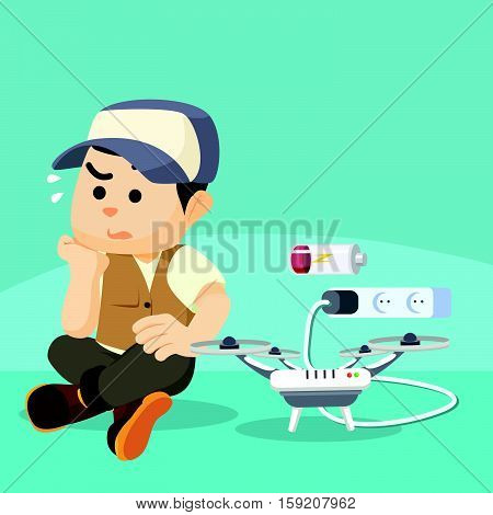 boy waiting for his drone done charging