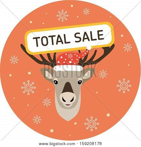 Christmas deer. Christmas Label. Head of a nice deer in a cap of Santa Claus and with an inscription on a head - Total sale. Flat illustration.