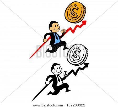 Vector illustration of happy businessman pursue sales target