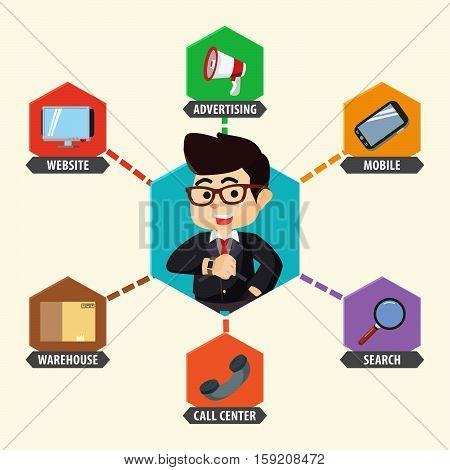 hexagonal omni channel eps10 vector illustration design