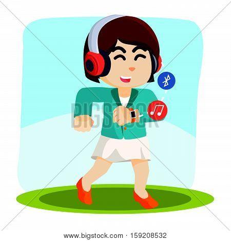 employee walking hearing music from her smartwatch