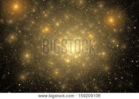 Supernova Explosion. Abstract Colorful Golden Sparks On Black Background. Fantasy Fractal Texture Fo