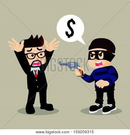 thief robbing a businessman eps10 vector illustration design
