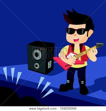 a man rocker concert eps10 vector illustration design