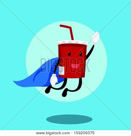 soft drink flying with cloak illustration design