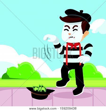 pantomime guy performing in park illustration design