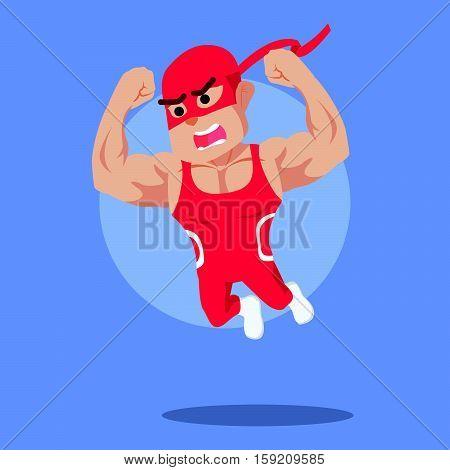 wrestler jump illustration character eps10 vector illustration design