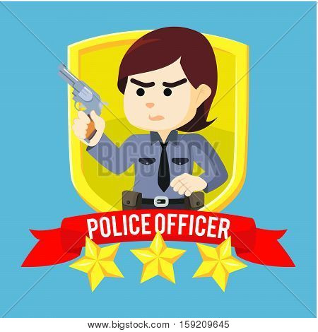 woman police officer in emblem illustration design