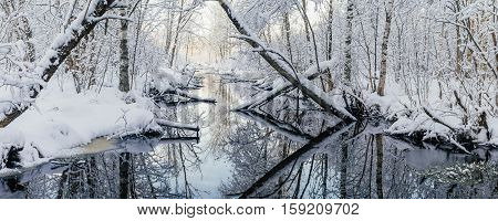 Panorama of small river in dreamlike snowy woodland by winter morning