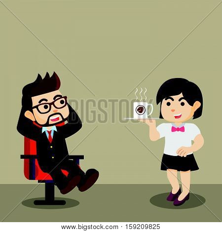businessman relaxation with coffe and waiterss illustration design