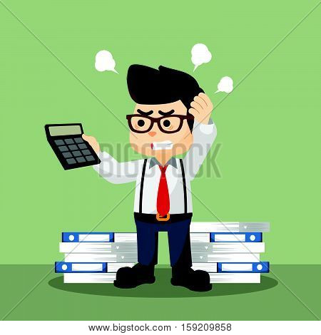 accountant confused with hold calculator illustration design