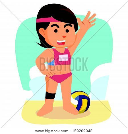 girl volley ball player eps10 vector illustration design
