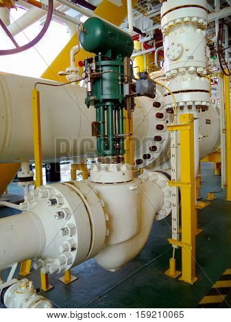 Control valve or pressure regulator in oil and gas process, The control valve used to controlled pressure in the system as Controller command, Oil and gas industry use to controlled the system.