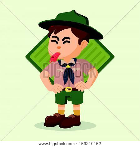 boy scout blowing whistle eps10 vector illustration design