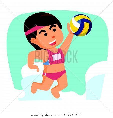 girl volleyball smashing ball eps10 vector illustration design