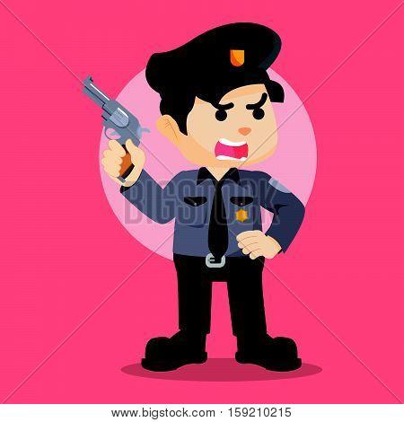 police officer holding gun eps10 vector illustration design