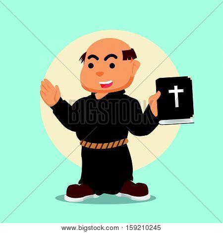 monk holding bible eps10 vector illustration design