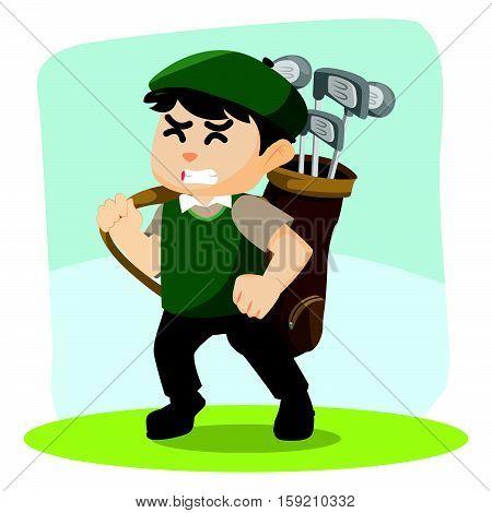golf player carrying golf bag illustration design