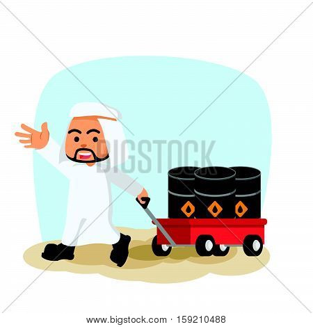 arab businessman pulling cart with oil barrels