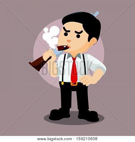 mafia guy holding shotgun eps10 vector illustration design