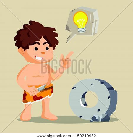 caveman stone ide eps10 vector illustration design