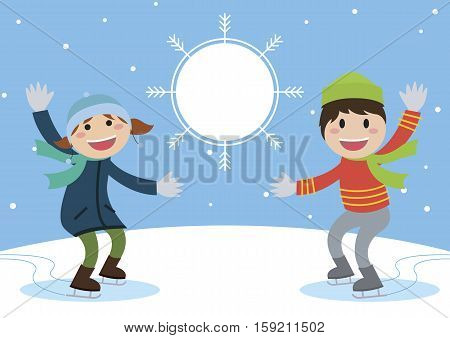 Enjoy ice skating boy and girl. insert text on snowball vector illustration.