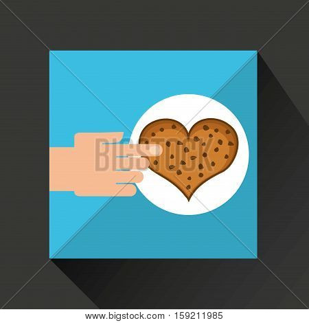 hand with cookie ht chips chocolate vector illustration eps 10