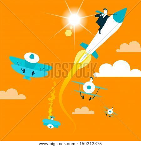 Ahead of old aircraft rocket. Vector illustration