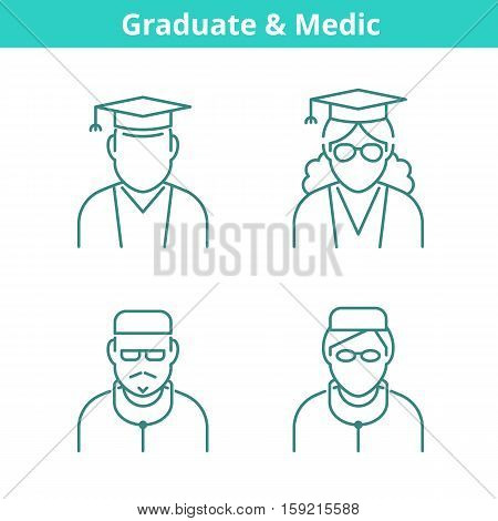 Occupations avatar set: doctor medic graduate student. Flat line professions userpic collection. Vector thin outline icons for profiles web design social networks and infographics.