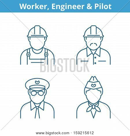Occupations avatar set: pilot stewardess engineer worker. Flat line professions userpic collection. Vector thin outline icons for profiles web design social networks and infographics.