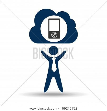 music design silhouette man and mp3 vector illustration eps 10