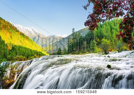 Amazing View Of The Pearl Shoals Waterfall Among Mountains