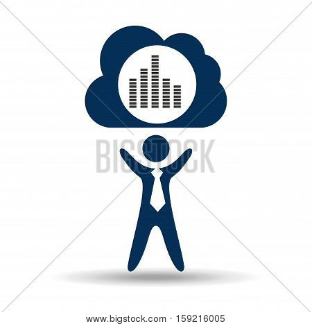 music design silhouette man and digital frequency vector illustration eps 10