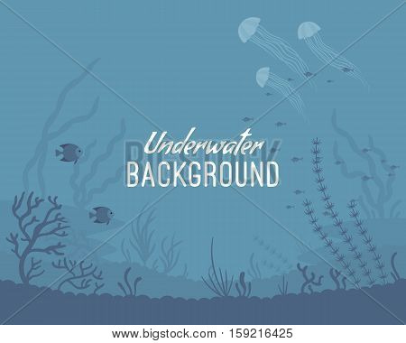 Underwater background, marine habitats, incredible species. Cartoon flat-style graphic template with copyspace