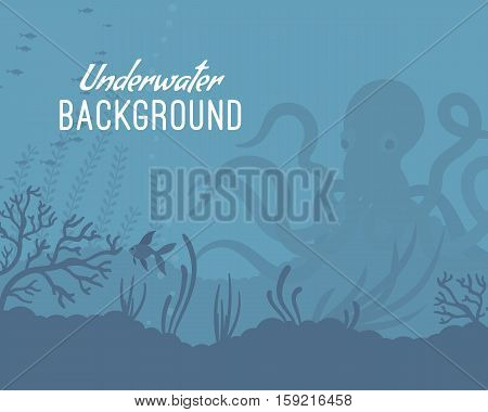 Underwater background, incredible species. Octopus, coral reefs, pelagic waters, mysterious ocean floor. Cartoon flat-style graphic template with copyspace
