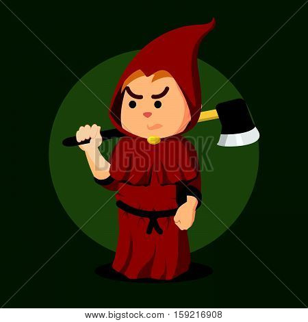 inquisitor holding axe eps10 vector illustration design