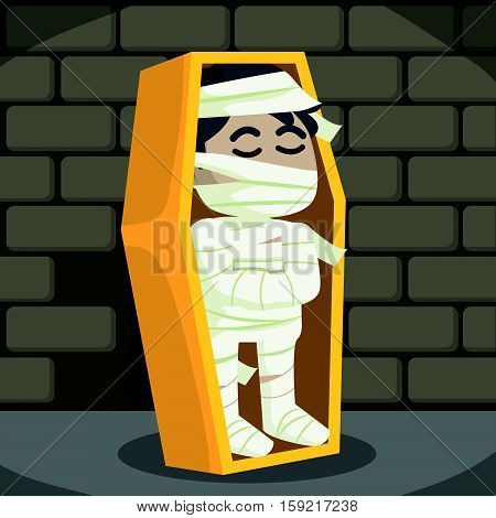 mummy in catacomb eps10 vector illustration design