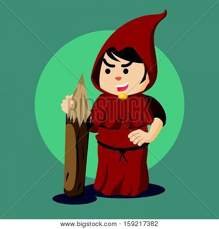 inquisitor holding big wooden pencils illustration design