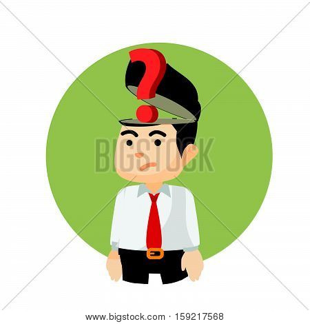 businessman question mark of head illustration design