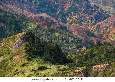 Aerial view on Mt.Shiga-kogen, Mt.Yokoteyama, Nagano, Japan.