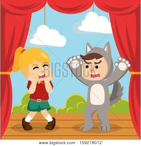 werewolf costume on stage play illustration design