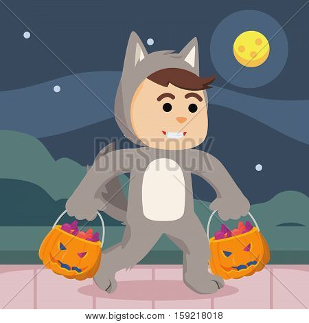 werewolf guy costume with candy bag illustration design